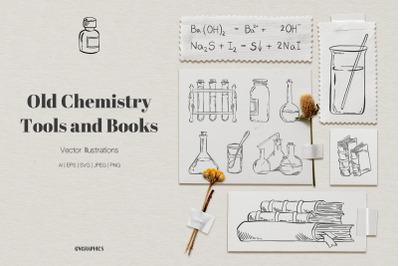 Old Chemistry Tools and Books Vector Illustrations