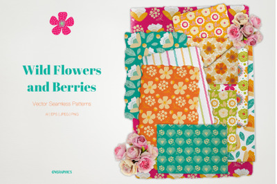 Wild Flowers and Berries Vector Patterns