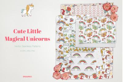Cute Little Magical Unicorns Vector Patterns