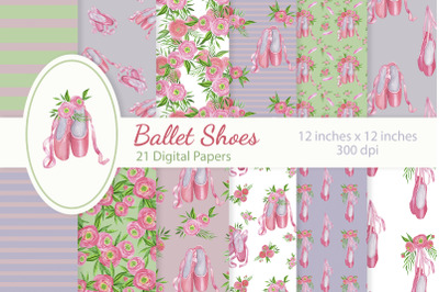 Floral Ballet Shoes Digital Papers Set