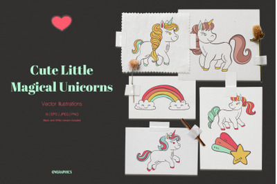 Cute Little Magical Unicorns Vector Illustrations
