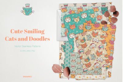Cute Smiling Cats and Doodles Vector Patterns