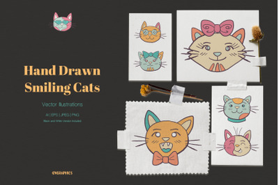 Hand Drawn Smiling Cats Vector Illustrations