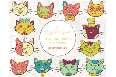 12 Hand drawn Cats Digital Clipart in orange, green and pink