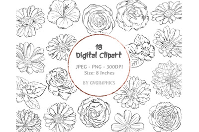 18 Roses, Daisies and Hibiscus Digital Clipart