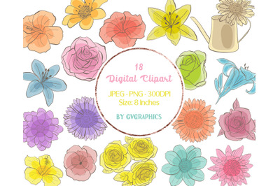 18 Colorful Roses, Lillies and Hibiscus Digital Clipart
