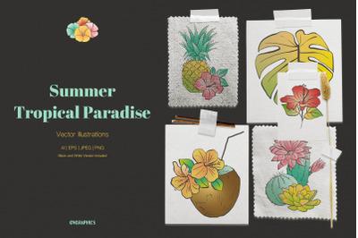 Summer Tropical Paradise Vector Illustrations