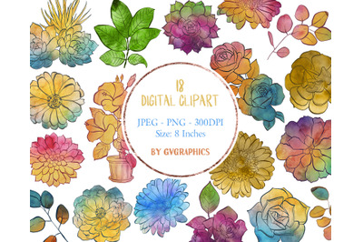 18 Watercolor Flowers, leaves and succulents Digital Clipart