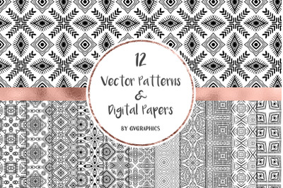 12 Vector Patterns & Digital Papers Set 1