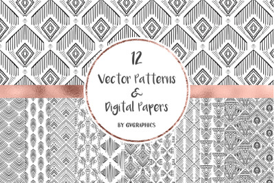 12 Vector Patterns & Digital Papers Set 2