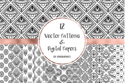 12 Vector Patterns & Digital Papers Set 3
