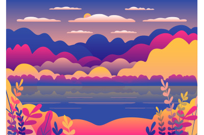 Hills and mountains landscape, lake in flat style design