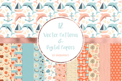 12 Vector Summer Patterns & Digital Papers