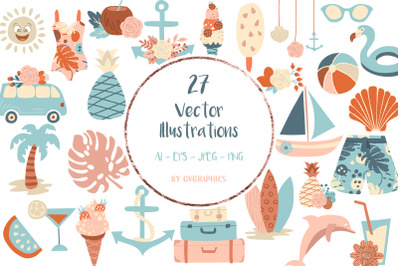 27 Vacation beach objects, Vector set of summer clipart