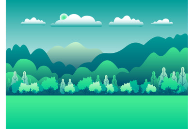 Hills and mountains landscape in flat style design. Beautiful green fi