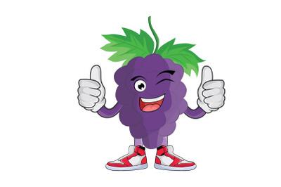 Grape Thumbs Up Fruit Cartoon Character