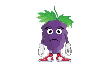 Grape Frowning Sad Fruit Cartoon Character
