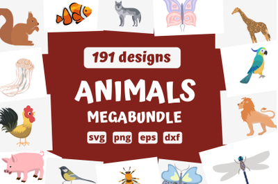 191 ANIMALS MEGABUNDLE svg bundle, animals cricut svg