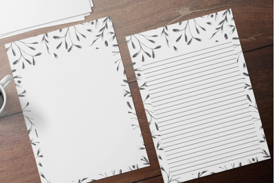 Simple Botanical Floral Stationery, Lined Digital Note Paper
