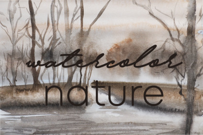 watercolor nature and landscape of summer or autumn mood