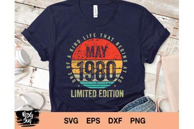 Vintage May 1980 png, 1980 vintage birthday png