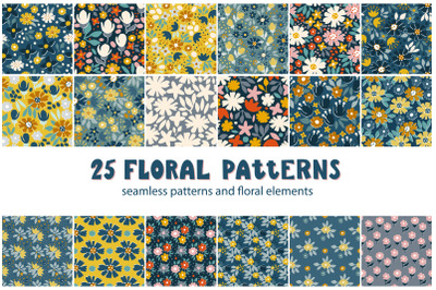 Rustic floral patterns set