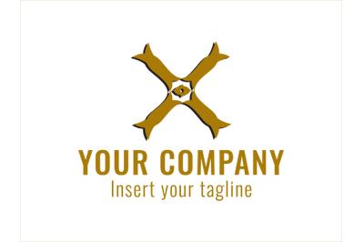 Logo Gold Cross Motif with Black Shadow