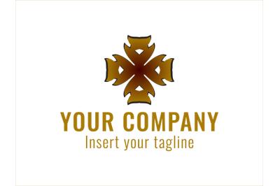 Logo Gold Airplane Motif Cross