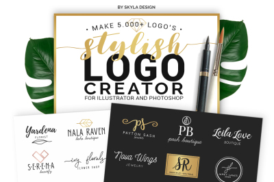 Stylish Premade Logo Creator Kit for Photoshop and Illustrator