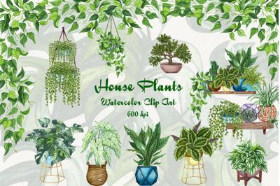 House Plants Watercolor Clip Art