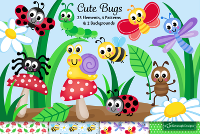 Cute bugs clipart, Bugs graphics & illustrations, Insects -C45
