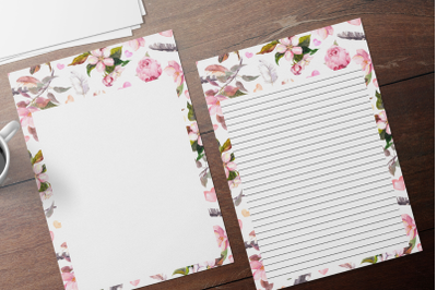 Pink Watercolor Peonies  Stationery, Lined Digital Note Paper