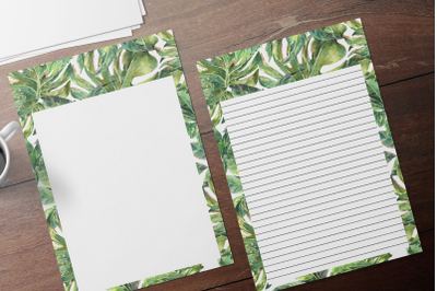 Watercolor Tropical Stationary Sheets, Lined Digital Note Paper