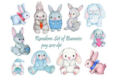 Random bunny set collection. Watercolor illustrations.