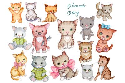 15 fun cats. Set of watercolor illustrations.