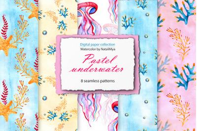 Watercolor Sea life digital paper pack