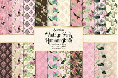 Vintage Pink Hummingbirds Digital Paper