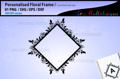 Floral frames SVG template