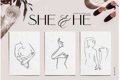 She & He. Nude line art collection