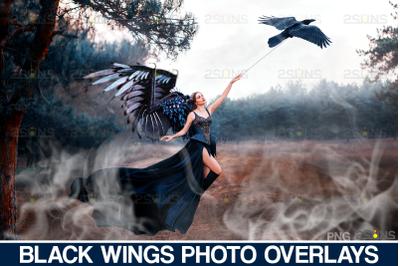 Realistic Black Angel Wings Photoshop Overlays