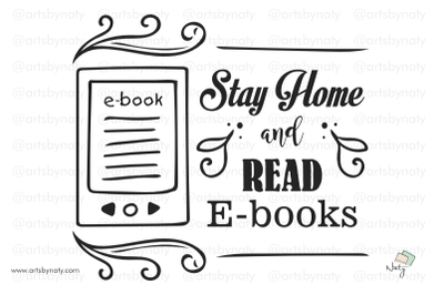 Stay home and read e-books SVG illustration.
