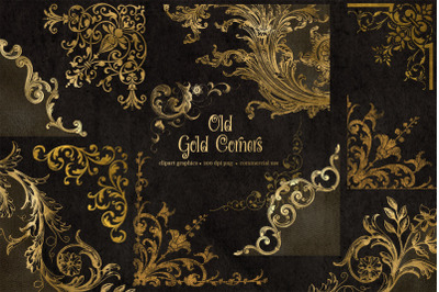 Old Gold Corners Clipart