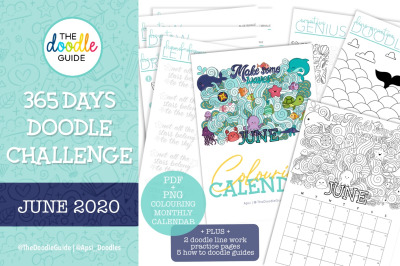 June Colouring Calendar + Doodle Guides