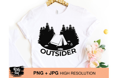 Outsider png sublimation design shirt, Camping sublimation design down