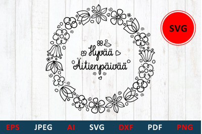 svg Mother's day greeting card in Finland Hyvaa Aitienpaivaa