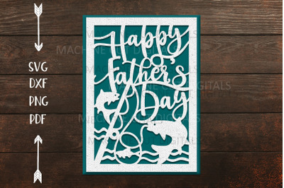 Happy Fathers day card for paper laser cut cricut svg dxf