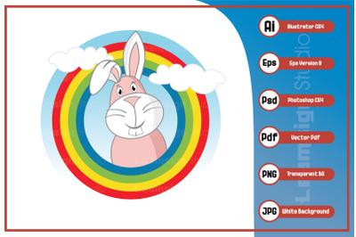 Cartoon character sweet rabbit logo