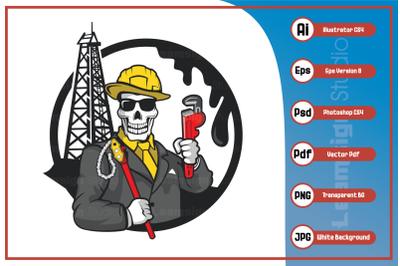 Cartoon character skull oil gangster logo