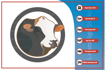 Mascot character cow head logo