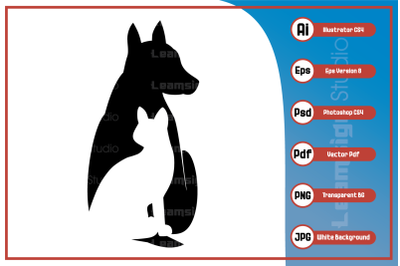 Silhouette illustration dog and cat -